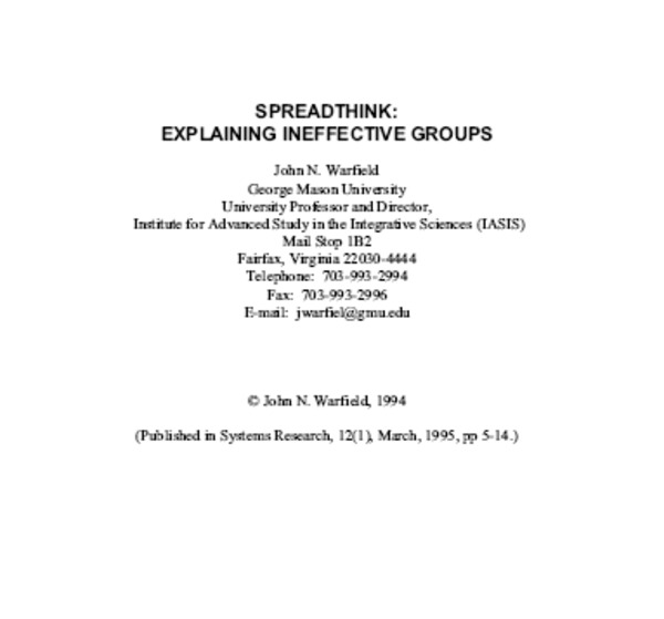 Spreadthink: Explaining Ineffective Groups